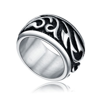 Stainless Steel Celtic Tribal Ring (Black and Silver Color)