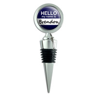 Brendon Hello My Name Is Wine Bottle Stopper