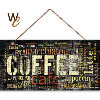 """Dark Distressed Coffee Sign, Words Cafe Mocha Cappuccino Latte, Weatherproof, 5"""" x 10"""" Sign, Cafe Decor, Warm Colors, Made To Order"""