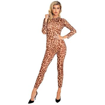 Sexy Wild Child Sheer Leopard Long Sleeve Bodystocking Catsuit