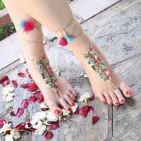 Handmade   Barefoot  Sandals,  Nude  Shoes,  Anklet,  Hippie  Shoes,  Belly  Dance,  Original  Design- ready to ship