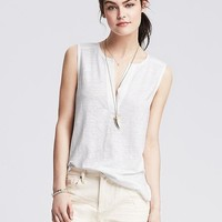 Banana Republic Womens Piped Linen Tank