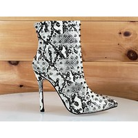 C & C Passion 2 Snake Leatherette Spike Stud Pointy Toe High Heel Ankle Boots