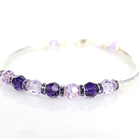 Purple crystal and sterling silver fitted bracelet
