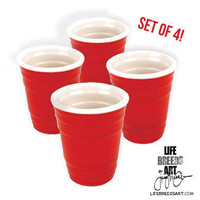 Red Cup Shot Glass, Set of 4   LIFE BREEDS ART