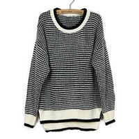 ZLYC Retro British Style Scoop Neck Splicing Slimming Christmas Sweater For Women