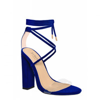 Tifany Blue Suede Clear Lace Up Block Heels : Simmi Shoes