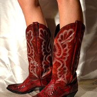 Vintage Boots COWGIRL BOOTS J Chisholm Boots in Garnet Python Boots Cowboy Boots Western Boots Native Ameriacn Boots Country Womens Boots 7M