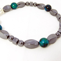 Men's bracelet, multi-color Chrysocolla and hematite beads, father's day, free shipping, free gift box