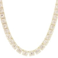 Men's IcedOut Square Links Baguette Solitaire Tennis Chain