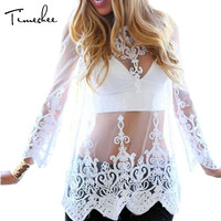 Lace Top Women 2017 Timechee Sexy Embroidery Black Blouse Transparent Mesh Mong Sleeves Elegant Fringe Lace Tops LYY0188
