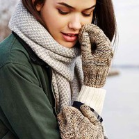Marled Cable Mitten- Tan One