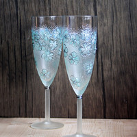 Mint Floral Design Hand Painted Wedding Champagne Flutes set of 2 Smoked Opal Swarovski Crystals