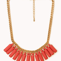 FOREVER 21 Art Deco Fan Necklace Gold/Coral One