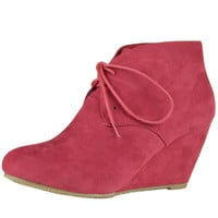 Womens Ankle Boots Suede Low Heel Lace Up Casual Wedges Red