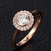 Round Moissanite Engagement Ring Diamond Halo 14K Rose Gold 5mm Flower Bezel