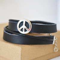 Men's leather two wraps bracelet. Black Leather and Peace Symbol. Gift for him. Male jewelry.