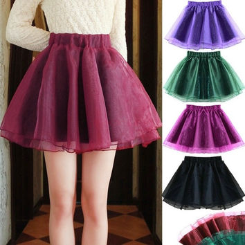 Women High Waist Slim Organza Tutu Mini Skirt A-line Flared 19959 One Size = 1745710212