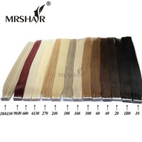 """MRSHAIR Tape In Human Hair Extensions 16"""" 18"""" 20"""" 22"""" 24"""" 20pcs Straight Brazilian Hair On Adhesives Invisible Tape PU Skin Weft"""