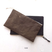 Large waxed canvas zipper pouch in tan, tool bag, pencil case ... - Volcano Store