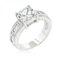 Clear Cubic Zirconia 5-stone Engagement Ring