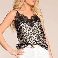 Revolution Grey Leopard Lace Cami