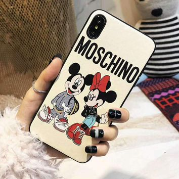 MOSCHINO HM H&M Joint Series Tide brand cartoon print iphone8plus mobile phone case cover White