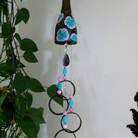 Wine bottle windchime, Amber wind chime, Purple and Teal flowers, yard art, patio decor, recycled bottle wind chime, hand painted chime
