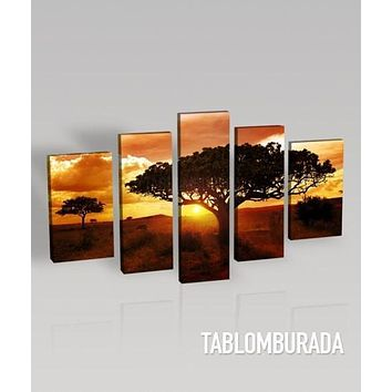 Large Wall Art CANVAS Print Africa Tree Canvas Print Ready to Hang 5 Panels Stretched on Deep