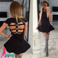 Gagaopt 2016 New Arrival Hollow Out Black& Pink Backless Dress Patchwork Party Ruffle Sexy Dresses Women Dresses Vestidos Robes
