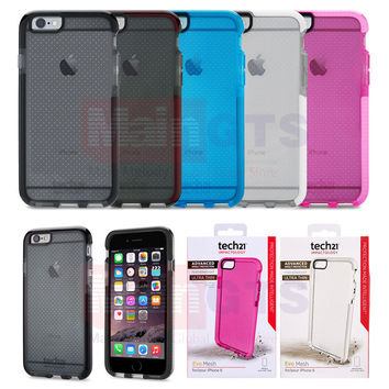 """Tech21 Evo Mesh Drop Protective Impact Case for iPhone 6 4.7 inch Soft TPU Tech 21 Shell for iPhone 6 Plus 5.5"""" in Retail Box"""