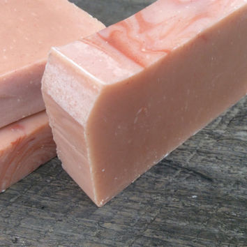 Pink Peppermint Spice, essential oil soap, bare scent, artisan soap, Red Clay, organic, Cold Process soap, vegan