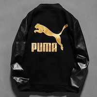 PUMA New fashion letter print couple long sleeve coat jacket Black