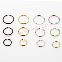 Medical Nostril Titanium Gold Silver Fake Nose ring Hoop Clip On Ear Earring Lip Stud Plain Body Piercing Jewelry For Women