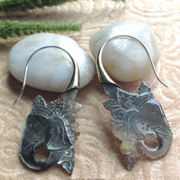 """Tribal Hanging Earrings, """"Shadow Ganesh"""" Natural, Black Mother of Pearl, Brass Tops, Sterling Silver Posts, Handcrafted"""