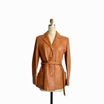 Vintage 90s Belted Leather Jacket in Butterscotch / Leather Coat - women's small/medium