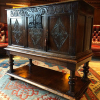 Antique Oak Chest Trunk Cupboard Coffer Carved Gothic 19th Century