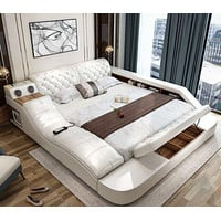 Leather Bed With Storage Safe Speaker LED Light For Bedroom Furniture
