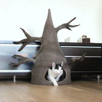 Cat house - cat bed / cave from natural wool - wool cat tree - made to order