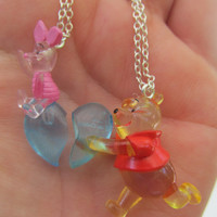 BF SALE Heart Necklaces, Pooh and Piglet Necklaces, His and Hers, Disney Necklace, Two halves of one heart,  I Love You, Bff