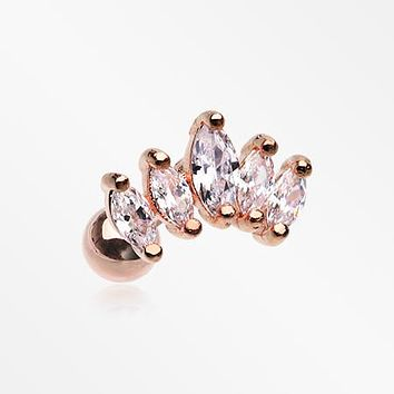 Rose Gold Journey Marquise Sparkle Cartilage Tragus Stud Barbell Earring