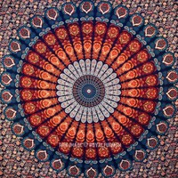 Blue Multi Plum and Blow Medallion Wall Tapestry, Hippie Bedding Throw - RoyalFurnish.com