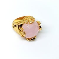 1-3135-g6 Gold  Overlay Gorgeous Gaudy Faceted Pink Quartz Ring.