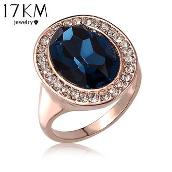 17KM Best Quality Rose Gold Color Luxury Exaggerated Wedding Blue Zircon Crystal Rings Female Statement Jewelry Accessories