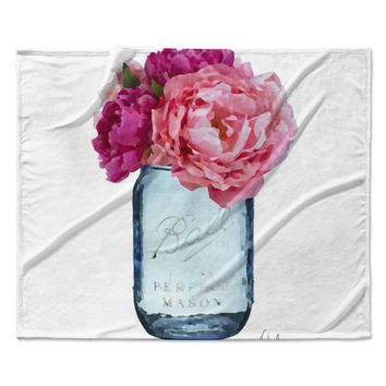 "Oriana Cordero ""Perfect Mason"" Blue Pink Fleece Throw Blanket"