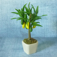 "Mango fruit pot 4 7/8"" fruit tree pot/ Fake fruit/ Faux fruit/ miniature plants/ Dollhouse fruit plants/ Miniatures"