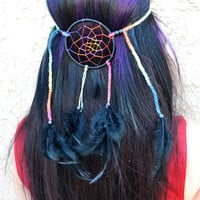Rainbow Dreamcatcher Feather Headband - Black Dream Catcher - Hippie - Festivals - Raves - Coachella - EDC - Burning Man - PLUR