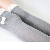 Sweet Socks for Flats Light Gray Lace Socks for Heels With Bowknot Boot Socks With Lace Trim High Thigh Socks for Women Gift 17121014