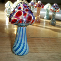 Glass Pipe, MUSHROOM PIPE, Hitter, Red with Blue Caramel Hand Blown Glass Mushroom Color Changing Glass Pipe, Cgge Team