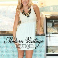 Mint and Cream Lace Top Short Dress